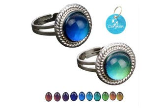 (Round) - Carykon 2 PCS Oval Mood Ring Retro Style Adjustable Finger Ring for Lovers Friends-One Size fits All (Round)