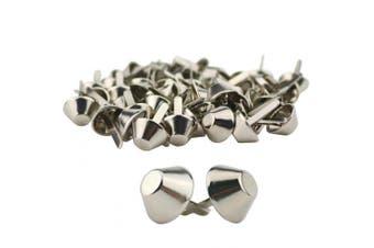 (100PCS 15mm) - TinaWood 100PCS 15mm Plate Bottom Stud Bag Feet/Silver Cone Studs Purse Feet Spike Nailheads Brad leathercraft Findings (100PCS 15mm)