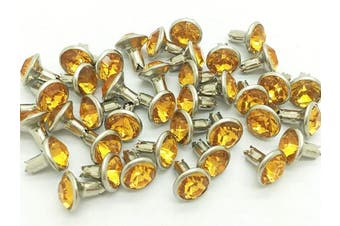ARTS AND CRAFTS SUPPLIES 40Set 8mm Yellow Synthetic Crystal Rivets Rhinestone Leather Decoration RV6068