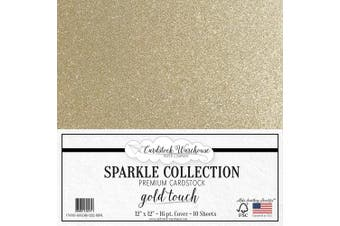 (Gold) - MirriSparkle Gold Touch Glitter Cardstock Paper 30cm x 30cm - 16 PT/280 GSM Heavyweight - 10 Sheets from Cardstock Warehouse