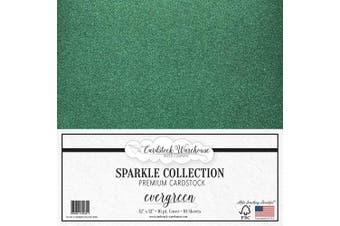 (Evergreen) - MirriSparkle Evergreen Glitter Cardstock Paper 30cm x 30cm - 16 PT/280gsm - 10 Sheets from Cardstock Warehouse