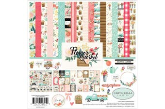 Carta Bella Paper Company CBMK96016A Flower Market Collection Kit Paper Teal, Pink, Cream, Woodgrain