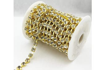 (4.3mm, Gold) - AEAOA 10 Yard Clear Crystal Rhinestone Chain Clear Trim Sewing Craft Cup Chain Party Decoration (4.3mm, Gold)