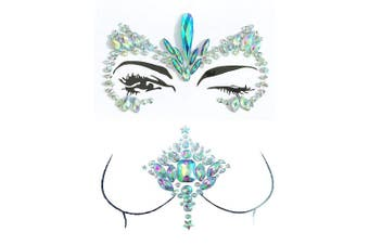 (FS2) - Mermaid Face Chest Gems Glitter Rave Festival Face Rhinestone Body Jewels Crystals Stickers Music Festivals (One Set) (FS2)