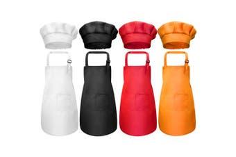 (Medium, Color 1) - Chengu 8 Pieces Kids Apron and Chef Hat Set, Boys Girls Adjustable Cotton Child Aprons with 2 Pockets Kitchen Bib Aprons for Kitchen Cooking Baking Wear (Colour 1, Medium)