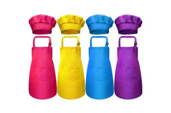 (Medium, Color 3) - Chengu 8 Pieces Kids Apron and Chef Hat Set, Boys Girls Adjustable Cotton Child Aprons with 2 Pockets Kitchen Bib Aprons for Kitchen Cooking Baking Wear (Colour 3, Medium)