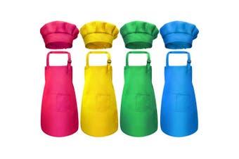 (Medium, Color 2) - Chengu 8 Pieces Kids Apron and Chef Hat Set, Boys Girls Adjustable Cotton Child Aprons with 2 Pockets Kitchen Bib Aprons for Kitchen Cooking Baking Wear (Colour 2, Medium)