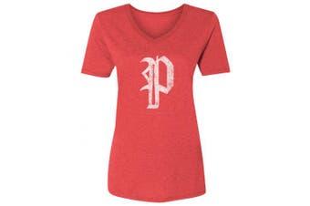 (X-Large, V-Neck) - 36 and Oh! Philadelphia P Baseball Shirt Womens Philly Vintage - Soft Style