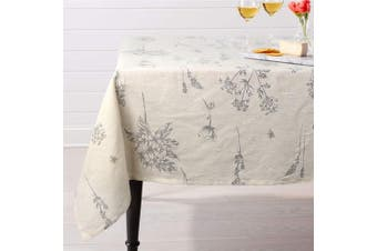 (Square, 140cm  x 140cm , Linen) - ColorBird Fern Print Cotton Linen Tablecloth Rustic Garden Natural Botanical Decorative Table Cover for Kitchen Dining Room Spring Summer Picnic Indoor Outdoor Use (Square, 140cm x 140cm , Linen)