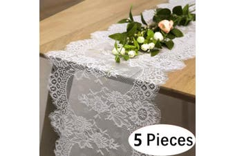 """(5pcs, White Lace-12""""x120"""") - B-COOL White Lace Runners for Table 14x120 Vintage Lace Coffee Table Runner Kitchen Linens for Birthday Wedding Party Bridal Shower 5 pieces"""