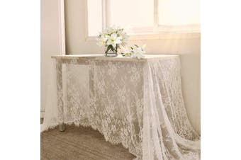 "(1pcs, White Lace-60""x120"") - B-COOL 150cm X 300cm Classic White Wedding Lace Tablecloth Lace Tablecloth Overlay Vintage Embroidered Lace Overlay for Rustic Wedding Reception Decor Spring Summer Outdoor Party"