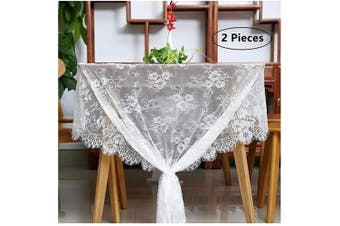"(2pcs, A+lace 60""x120"") - B-COOL White Lace Tablecloth Exquisite Wedding Lace Fabric Vintage Embroidered Lace Overlay Perfect for Wedding Spring Summer Outdoor Party Event Decor Size 60 X 120 2 Pieces Included"