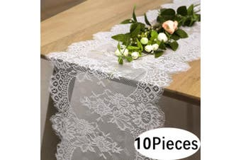 "(10pcs, White Lace-12""x120"") - B-COOL Vintage White Lace Table Runner for Rustic Boho Wedding Bridal Shower Decorations, Exquisite Embroidered Floral Table Runner 36cm x 300cm 10 pieces"