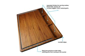 (Large dark (17*12.6)) - Large Bamboo Wood Cutting Board for Kitchen, Cheese Charcuterie Board Set with 3 Built-in Compartments and Juice Grooves, Butcher Block (17x12.6)