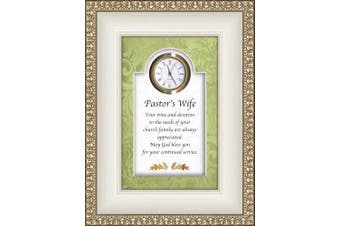 (Pastor's Wife) - CB Gift Heartfelt Collection-Times Essence Framed 3D-Table Top Clock with Prayer, 15cm x 20cm , Pastor's Wife