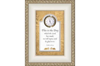 (This is the Day-psalm 118:24) - CB Gift Heartfelt Collection-Times Essence Framed 3D-Table Top Clock with Scripture, 15cm x 20cm , This is The This is The Day-Psalm 118:24