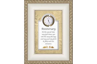 (Anniversary-religious) - CB Gift Heartfelt Collection-Times Essence Framed 3D-Table Top Clock with Prayer, 15cm x 20cm , Anniversary-Religious