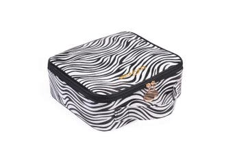 (Zebra Print) - OXYTRA Makeup Bag Zebra Print PU Leather Travel Cosmetic Bag for Women Girls - Cute Large Makeup Case Cosmetic Train Case Organiser with Adjustable Dividers for Cosmetics Make Up Tools (Zebra Print)