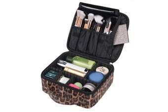 (Leopard Print) - OXYTRA Makeup Bag Leopard Print PU Leather Travel Cosmetic Bag for Women Girls - Cute Large Makeup Case Cosmetic Train Case Organiser with Adjustable Dividers for Cosmetics Make Up Tools