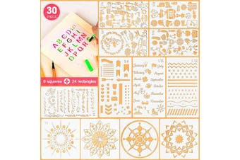(A) - 5ARTH Journal Stencils Set - 30 Pcs Bullet Stencils for A5 Notebook, Letter Stencils, Number Stencils, Mandala Stencils and More DIY Drawing Templates for Kids Women