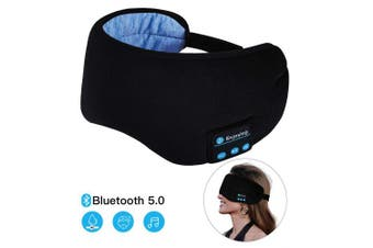 Sleep Headphones Bluetooth Wireless Eye Mask - CaseBuy Music Travel Sleep Mask Wireless 5.0 Bluetooth Handsfree Sleep Eye Shades Built-in Speakers Microphone Handsfree Adjustable Washable (Black)
