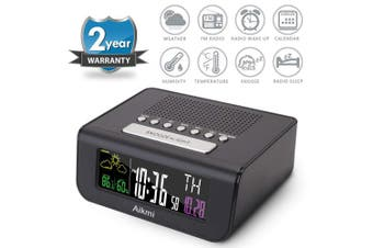 (Black 2019) - Alarm Clock Radio Colour Screen - Digital Clock for Bedroom with Weather Forecast Dual Alarm Snooze Battery Backup FM Radio Sleep Timer 10cm LCD Display Date Indoor Temperature and Humidity (Black 2019)