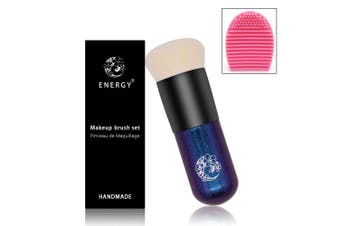 (foundation chubby makeup brush) - ENERGY Foundation Brush Chubby Makeup Brush Premium Dense Bristles with Dreamy Star Handle Portable Makeup Cosmetic Tool with 1 Foundation Brush Cleaner/Brush Egg