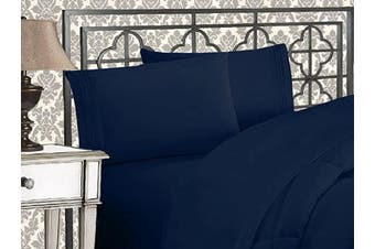(Full, Navy) - Elegance Linen 1800 Series 4-Piece Solid Egyptian Quality Bed Sheets with Deep Pockets Up to 41cm Full Navy