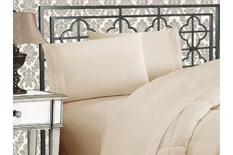 (Full, Cream) - Elegance Linen 1800 Series 4-Piece Solid Egyptian Quality Bed Sheets with Deep Pockets Up to 41cm Full Beige