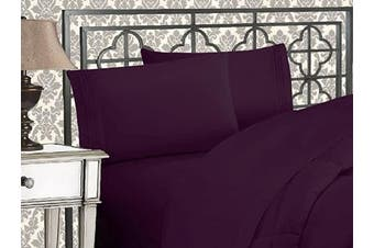 (California King, Purple) - Elegance Linen 1800 Series 4-Piece Solid Egyptian Quality Bed Sheets with Deep Pockets Up to 41cm California King Purple