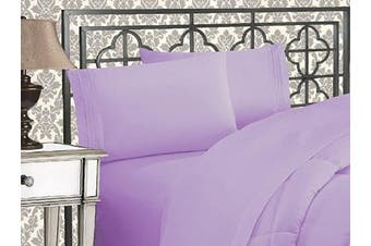 (California King, Lilac) - Elegance Linen 1800 Series 4-Piece Solid Egyptian Quality Bed Sheets with Deep Pockets Up to 41cm California King Lilac