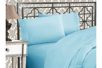 (King, Aqua) - Elegance Linen 1800 Series 4-Piece Solid Egyptian Quality Bed Sheets with Deep Pockets Up to 41cm King Aqua