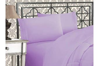 (King, Lilac) - Elegance Linen 1800 Series 4-Piece Solid Egyptian Quality Bed Sheets with with Deep Pockets Up to 41cm , King, Lilac