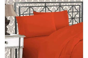 (California King, Rust) - Elegance Linen 1800 Series 4-Piece Solid Egyptian Quality Bed Sheets with with Deep Pockets Up to 41cm , California King, Rust