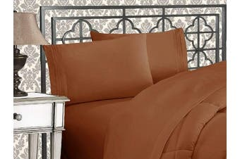 (Queen, Bronze) - Elegance Linen 1800 Series 4-Piece Solid Egyptian Quality Bed Sheets with with Deep Pockets Up to 41cm , Queen, Bronze