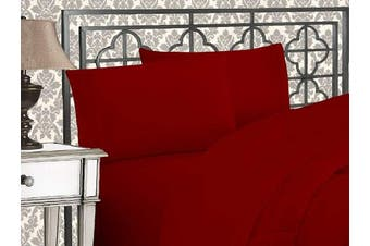 (Twin, Burgundy) - Elegance Linen 1800 Series 4-Piece Solid Egyptian Quality Bed Sheets with with Deep Pockets Up to 41cm , Twin, Burgundy