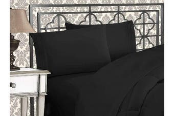 (Queen, Black) - Elegance Linen 1800 Series 4-Piece Solid Egyptian Quality Bed Sheets with with Deep Pockets Up to 41cm , Queen, Black