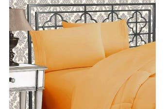(Full, Gold) - Elegance Linen 1800 Series 4-Piece Solid Egyptian Quality Bed Sheets with with Deep Pockets Up to 41cm , Full, Gold