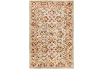 (0.6m x 0.9m, Light Green/Gold) - Safavieh Classic Collection CL324A Handmade Traditional Oriental Light Green and Gold Wool Area Rug (0.6m x 0.9m)