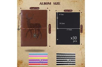 (deer) - AIOR Scrapbook Photo Album, Self Adhesive Wedding Memory Book Vintage Leather DIY Guest Book, 28cm x 21cm 60 Black Pages, Anniversary Gifts Birthday Valentines Presents for Women Men Mom Girls