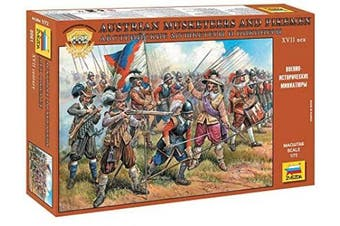 Zvezda 1/72. Austrian Musketeers and Pikemen XVII Century. Set Number 8061. 45 unpainted soldiers 1-72 scale.