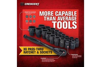 (20 Piece X6 Pass-Thru Set, SAE/Metric) - Crescent 20 Pc. 1cm Drive Pass-Thru X6 Standard Spline Mechanics Tool Set - CX6PT20