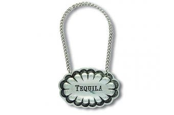 (Tequila) - Vagabond House Pewter Western Concho TEQUILA Decanter Tag/Liquor Bottle Label 6.4cm Wide