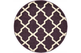 (0.9m x 0.9m Round, Dark Violet) - Unique Loom Trellis Collection Geometric Modern Dark Violet Round Rug (0.9m x 0.9m)