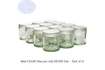 60ml Clear Glass Jars with Silver Lids - Pack of 12