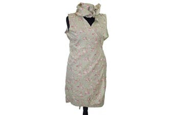 (SIZE 28-30) - CL COSTUMES 1940's-Wartime-Hilda Ogden-Mrs Overall-Nora Batty-Ladies VINTAGE GREEN FLORAL WRAP AROUND PINNY & HEADSCARF (SIZE 28-30)