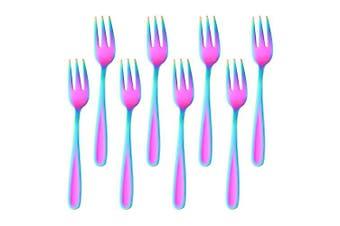 18/10 Stainless Steel Cake Fork 3 Tines Fruit Fork, Bisda 8-Piece Rainbow Forks Set Mirror Polish Ideal for Wedding Party Dessert Fruit