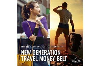 (X-Small, Blue) - Avanto Lifestyle Slimfit Travel Money Belt with Zippered Wrist Wallet for Travel, Phone Holder for Running, Running Belt, Passport Holder, Waist Bag, Fanny Packs for Women and Men