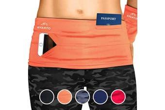 (Small, Orange) - Avanto Lifestyle Slimfit Travel Money Belt with Zippered Wrist Wallet for Travel, Phone Holder for Running, Running Belt, Passport Holder, Waist Bag, Fanny Packs for Women and Men