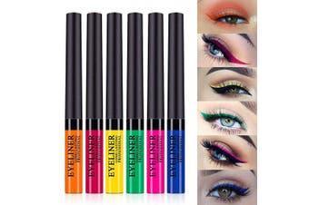 (6 pcs B) - 6 Colours Matte Liquid Eyeliner Colourful Waterproof High Pigmented Brighten Pigments Smudgeproof Long Lasting Liquid Eye Liner Pen Set Matte Eye Shadow for women girl (6 pcs B)